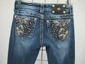 P0161 VTG Women's Miss Me Floral Embellished Boot Cut Jeans Size 26