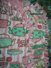 HANDMADE 72x60 DOUBLE LAYER No Sew Fleece Blanket Throw* TEA PARTY TIME CUPS