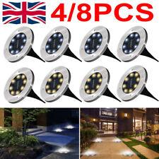 8PCS LED Solar Power Ground Lights Floor Decking Outdoor Garden Lawn Path Lamp