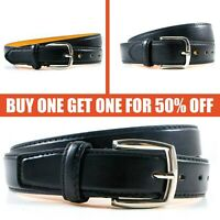 Men's Genuine Leather Metal Buckle Casual Dress Comfort Jean Belt Black M L XL