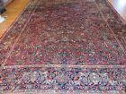 10x16 Oversize Antique Sarough Sarouk Oriental Area Rug Red Navy wool