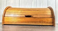 "Beautiful Vintage MCM Dolphin TEAKWOOD Roll Top BREAD BOX 15.5""W 7""H 10.75""D"