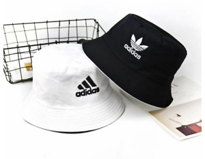 double side adidas trefoil Unisex Bucket Hat Beach Festival Party White Black