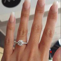 2,20Kt Brillant Diamant Solitär Damen Verlobungsring Weißgold Finish gr 50-62