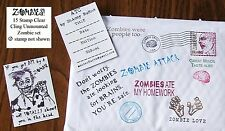 UM Zombies ATC and Postal Art set of 15 rubber stamps