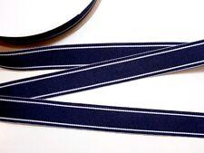 "Navy Blue Ribbon, Blue with White Stripe Grosgrain Ribbon 7/8"" wide x 10 yards"