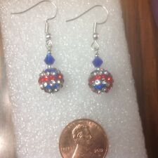 Patriotic SPARKLING 4th of JULY RED WHITE BLUE GLOBE  Austria Crystal  Earrings