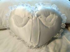 Wedding Supplies Bride Groom Ring Bearer Pillow White Satin Doves, Lace Ribbon
