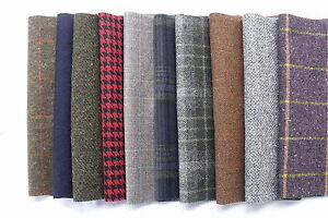 100% Pure Wool Tweed Remnants Offcuts Patchwork Rag Rug Crafts 10 Large Pieces
