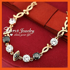 9K GOLD GF BR57 SIMULATED DIAMOND BLACK MARQUISE INFINITY LADY WEDDING  BRACELET