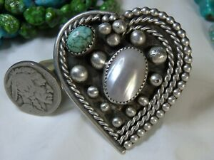 """2"""" NAVAJO Sgnd PIXIE TURQUOISE FreshWater PEARL STERLING Silver HEART Ring s10💘"""