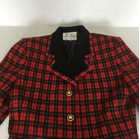 vintage red tartan plaid blazer jacket shoulder pads wool blend short button