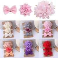 1/3Pcs Newborn Baby Girls Headband Hair Band Ribbon Bow Turban Head Wrap Soft