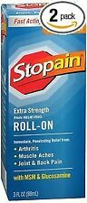 Stopain Extra Strength Pain Relieving Roll-On - 3 oz, Pack of 2