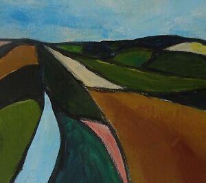 "Landscape Acrylic Painting Original Art 17""x15"" Abstract Art Contemporary Framed"