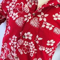 Disney Store Hawaiian Aloha Shirt Mickey Minnie Hibiscus Pineapple Print Red