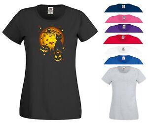 Halloween T Shirt Scary Horror Night Pumpkin Cat Trick or Treat Gift Women Top