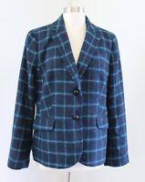 Talbots Womens Blue Plaid Wool Blend Printed Duck Lining Blazer Jacket Size 14