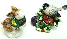 Fitz & Floyd Christmas Holiday Figurines Bunny Bird Wreath Holly Berry: Lot of 2