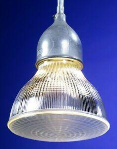 "Vtg. 40s HOLOPHANE CROUSE-HINDS 10""D Industrial Hanging Light RARE glass globe"