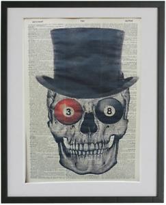 Skull Wall Art No.203, halloween poster, bar room poster, pool room wall print