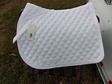 LETTIA  ENGLISH ALL PURPOSE SADDLE PONY PAD WHITE WITH WHITE PIPING