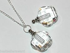 1 Clear Glass Flower pendant cremation urn ashes perfume bottle Necklace pendant