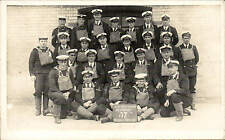 Devonport Royal Navy Anti-Gas School. 57th Weekly Course. Gas Masks Off.