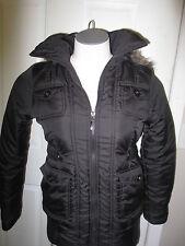 Dollhouse Faux Fur Hood Cinched Waist Puffer Coat XS Black NWT