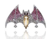 Silver Topaz Crystal Body Rhinestone Painted Fuchsia Wing Vampire Bat Brooch Pin