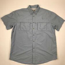 LL Bean Men Button Front Light Blue Outdoor Fishing Shirt sz XLT 522afbc3026d