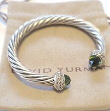 David Yurman Sterling Silver 7mm Cable Candy Prasiolite & Diamond Bracelet