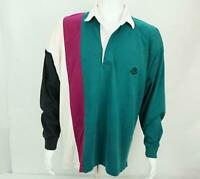 Vintage Eddie Bauer Men's Long Sleeve Rugby Polo Shirt Size XL Color Block