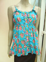 Atmosphere - Womens Bright Turquoise / Pink Floral Strappy Sun Top - size 12 &14