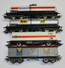 Lima H0 vier Güterwagen 4achsige Kesselwagen + Containerwagen + Schwenkdachwagen