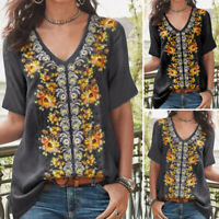 VONDA Women Baggy Short Sleeve Top Floral Vintage Casual Blouse Ladies Shirt Tee
