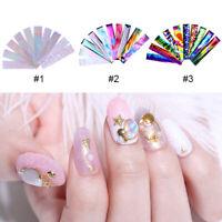 KQ_ 10Rolls Sparkly UV Gel Nail Art Transfer Foil Stickers Decals DIY Manicure B
