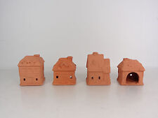 Incense Burner Clay House Lot of 4 Unpainted European Style House Unused