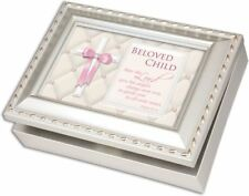 Beloved Child Champagne Silver Music Box / Jewelry Box Plays Jesus Loves Me