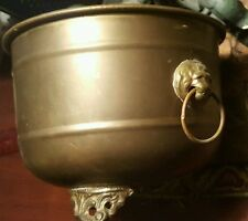 "Brass planter, lion head handles, made in India, nice patina, 4 7/8"" tall"