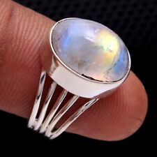 Jewelry solid Ring Size us 6.75 Rainbow Moonstone Gems 925 sterling silver