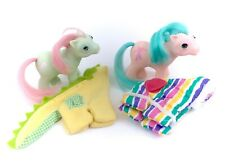 G1 My Little Pony Baby Wear Lot of 2 BBE Ponies Half Note & Cuddles Dragon Dino