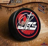 TEEMU SELANNE Autographed Winnipeg Jets Vintage Logo Puck - Anaheim Ducks