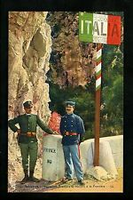 Costume postcard Military Uniforms soldiers French Italian border Italy France