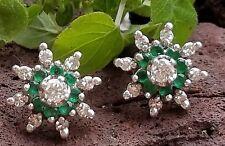 Vintage Retro 14k White Gold Emerald Diamond Starburst Earrings Estate Jewelry