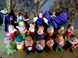 SNOW WHITE MATTEL 10 PC., DISNEY 8 PC. PVC VINTAGE 1993 FIGURINE SET--NEW, MINT