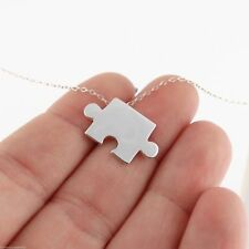 Puzzle Piece Necklace - 925 Sterling Silver Autism Awareness Jigsaw Pendant NEW