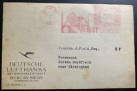 1934 Berlin Germany Lufthansa Meter Cancel Front Cover To Sutton England