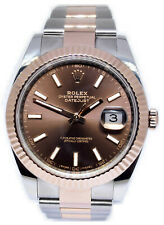 Rolex Datejust 41 Chocolate Dial 18k Rose Gold & Steel Watch & Box 126331