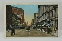 Vintage Unposted Postcard Main St Court St Buffalo NY Stores Trolleys